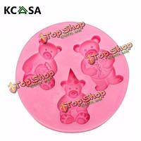 KCASA™ 3 медвежонок силикона помадки формы шоколада полимерная глина плесень