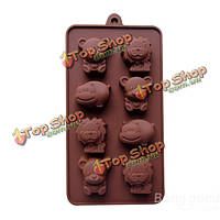 Высокая термостойкость силикона трех животных торта прессформы, фото 1