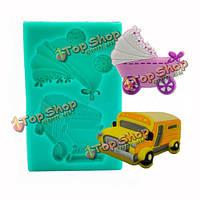 Форма украшения формы свадебного торта силикона транспортного средства школьного автобуса трамвая коляски, фото 1