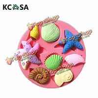 KCASA™ 3D силикон ракушка морская звезда морская улитка помадной Cake формы шоколада украшения торта прессформы, фото 1