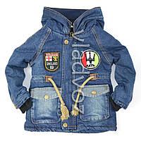 Детская джинсовая парка для мальчика синяя подкладка бык 4-5 лет