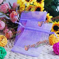 100шт 7x9см фиолетовый органзы мешок ювелирных изделий мешок подарка, фото 1