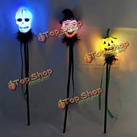 Череп головы ведьма тыквы Хэллоуин форма LED мигающий бар свечение палку, фото 1