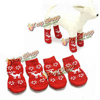 Нескользящая пузыря Pet носки красного лося шаблон Рождество Pet носки