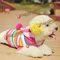 Котенок на собаку свитер вязаный мягкий цветной полосой свитер с капюшоном, фото 1