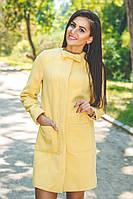 Женское элегантное силуэтное пальто с бантиком из кашемира на подкладе