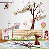 Мультфильм обезьяна и деревья стены стикеры детская комната украшение дома