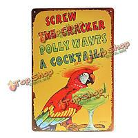 Попугай коктейль жестяная вывеска паб-бар Винтаж декор стены подарка кристмас, фото 1