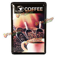 Кофе в зернах олова, войдите старинные металлические бляшки декор паб в кафе стены, фото 1