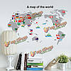 Карта мира флага съемный стикер стены домашнего декора деколь