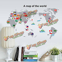 Карта мира флага съемный стикер стены домашнего декора деколь, фото 1