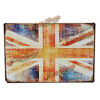 Флаг Великобритании жестяная вывеска старинные металлические бляшки бар паб стена декор Рождественский подарок, фото 1