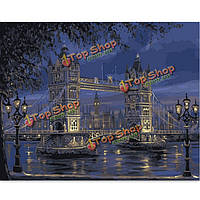 Поделки картина маслом по номерам лондон мост цифровые комплекты масляной живописи бескаркасных холст домашнего декора стены 40x50cm, фото 1