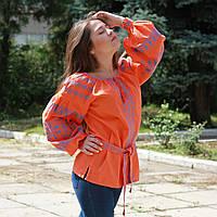 """Вишиванка жіноча """"Київлянка"""" льон помаранчевий"""