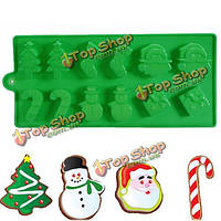 Рождественская елка Снеговик Дед Мороз шоколадный фондант торт прессформы, фото 1