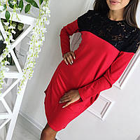 Женское платье свободного кроя из трикотажа с отделкой из дорогого гипюра