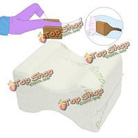 Мягкая подушка колена ноги пены с эффектом памяти белая бамбуковая подушка кровати ночи болей в спине покрытия волокна