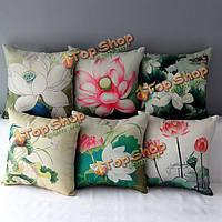 Китайский серийный хлопковый чехол для подушки полотна случая декоративной подушки лотоса чернил домашняя обстановка дивана