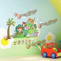 Зоопарк животных для детского сада детская комната стикер стены съемный 3D обои декор