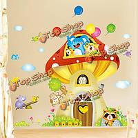 Мультфильм гриб дом животное настенные наклейки детская комната обои искусство росписи декора