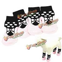 Собака симпатичная розовая бабочка шаблон резиновой прокладки хлопковые носки