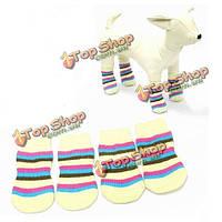 Домашнее животное носков собаки кошки яркие хлопчатобумажные носки образца полосы антиподсовывает носки собаки