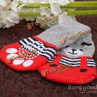 Носки собаки кошки имеют образец красные серые внутренние мягкие хлопчатобумажные носки домашнего животного антипромаха