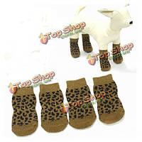Собаки любимчика леопардовый скольжению 100% хлопок вязаные носки