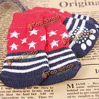 Звезда Pattern синий и красный анти-скольжения мягкий хлопок вязать носки любимчика