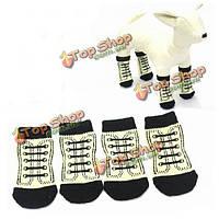 Собаки любимчика мягкий черный и белый хлопок анти -- выскальзования переплетения вязать теплые носки