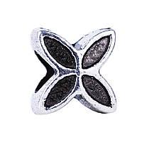 Серебряный шарм подвеска бусина цветок Счастливый Клевер