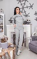 Женский прогулочный костюм с рюшами из футера и карманами