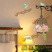 Поделки клетке птица съемный стикер стены домашний декор ванной комнаты