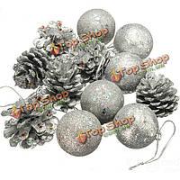 12шт новогодние сосны конус шар Рождественская елка орнамент декор