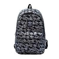 Городской рюкзак Adidas черный с серебристыми рисунками