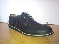 Туфли мужские осенние из нубука на шнурках
