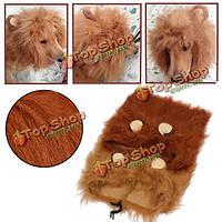 Парик костюм животного с гривой Льва для собаки кошки Хэллоуин одежда с уха