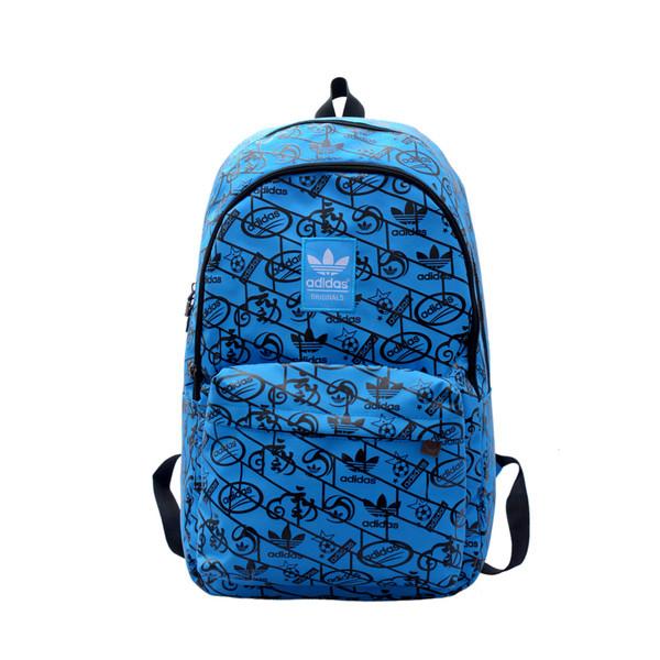 Городской рюкзак Adidas синий с черными рисунками (реплика)
