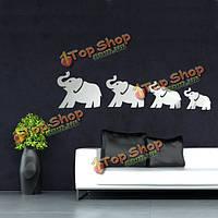 Поделки 3д четыре милые слоны зеркало стены стикеры искусства термоаппликации декора дома