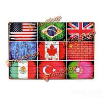 Национальный флаг жестяная вывеска старинные металлические бляшки плакат Пивной бар дома стены декор