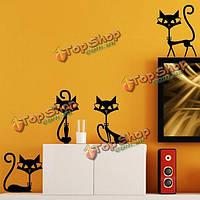 4 черная кошка стикер стены декор гостиной телевизор стены стикеры детская комната обои