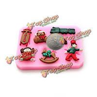 Медведь железнодорожного силиконовый шоколад для украшения торта прессформы смолаы цветка
