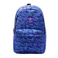 Городской рюкзак Adidas фиолетовый с голубыми рисунками