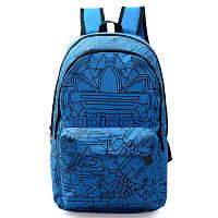 Городской рюкзак Adidas голубой с черными рисунками