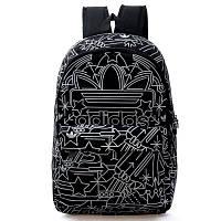 Городской рюкзак Adidas черный с белыми рисунками (реплика)