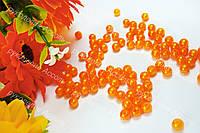 Бусины 6мм насыщенный оранж перламутр