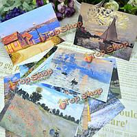 30шт старинные художник Моне печать масло открытки поздравительная открытка