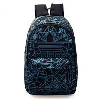 Рюкзак Adidas черный с голубыми рисунками