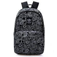 Рюкзак Adidas черный с изображением белых фотоаппаратов