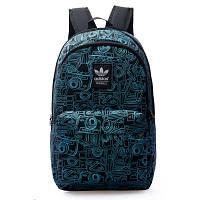 Городской рюкзак Adidas черный с изображением голубых фотоаппаратов